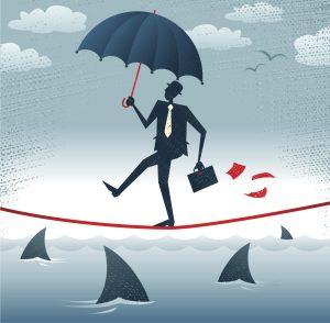 Chôdza po lane s dáždnikom v ruke symbolizujúca životné poistenie